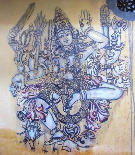 Shiva Nataraja paré de tous ses attributs, peinture murale, Lakshmipuram, Mysore, Karnataka, Inde