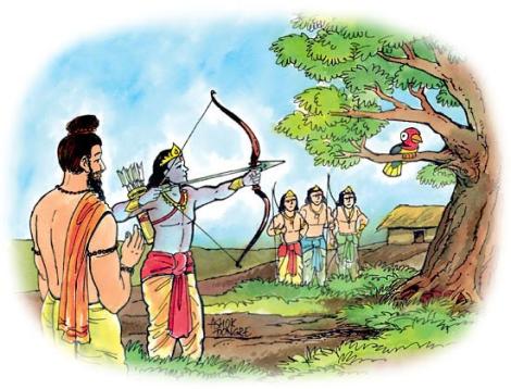 Arjuna lors de la leçon de tir